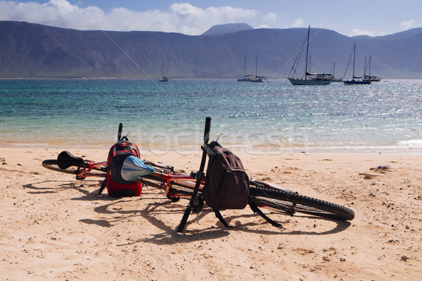 bicycles on the sand in La Graciosa, Canary Islands, Spain Stock photo © nito