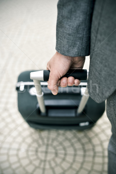 businessman pulling a trolley case Stock photo © nito
