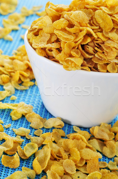 Cornflakes kom Blauw tafelkleed weefsel Stockfoto © nito
