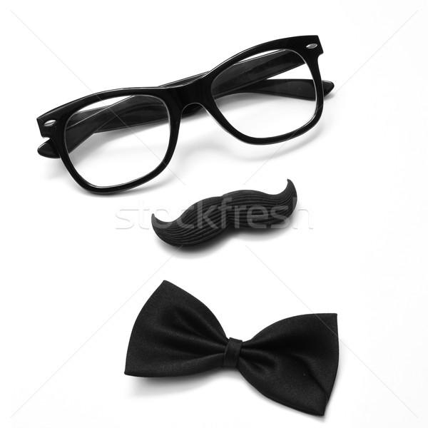Beyefendi adam çift gözlük bıyık Stok fotoğraf © nito