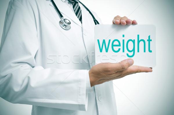 Controllo peso medico testo scritto Foto d'archivio © nito