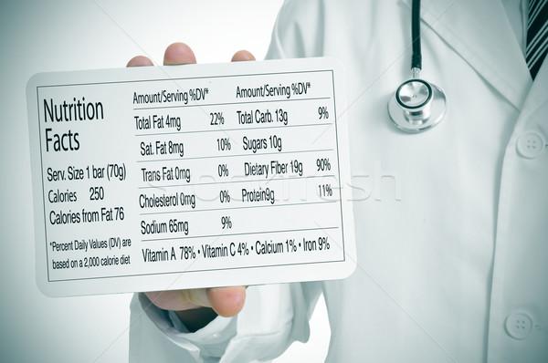 Nutrição fatos médico tabela homem Foto stock © nito