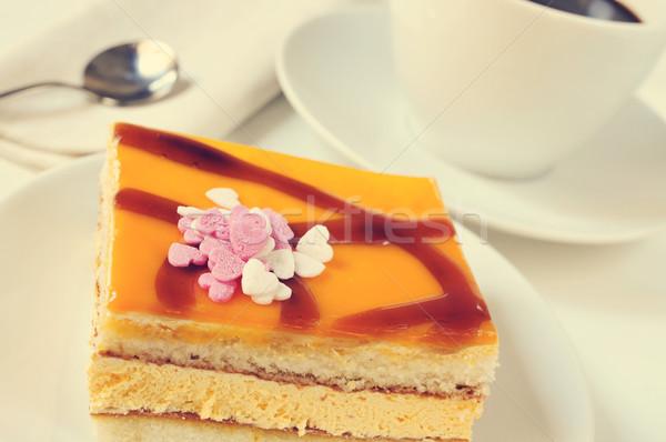 Torta café filtrar efecto primer plano placa Foto stock © nito