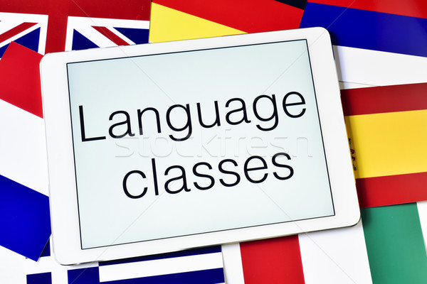 different flags and the text language classes in the screen of a Stock photo © nito