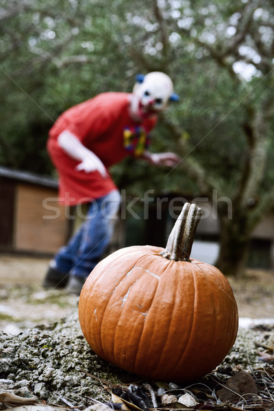Pompoen scary kwaad clown buitenshuis Stockfoto © nito