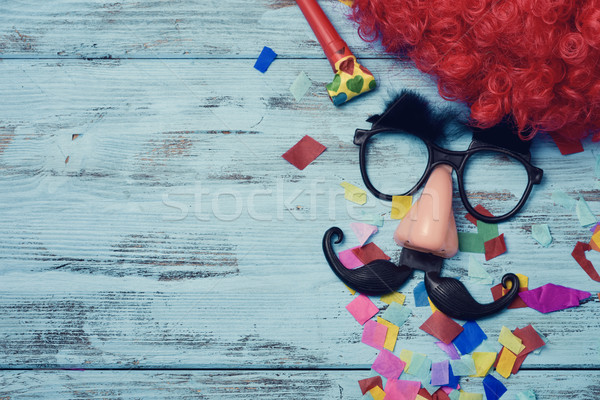Photo stock: Faux · verres · nez · moustache · rouge · perruque