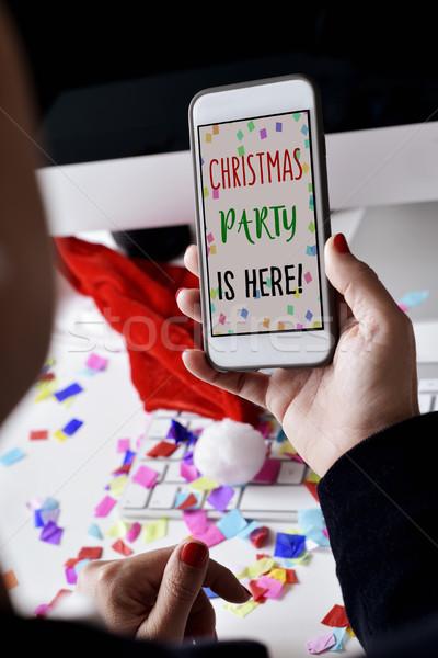 Tekst christmas partij hier smartphone Stockfoto © nito