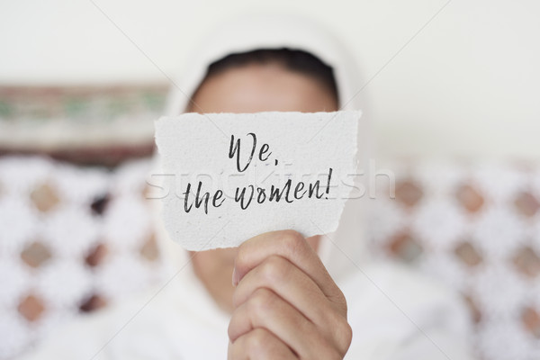 woman with a hijab and the text we the women Stock photo © nito