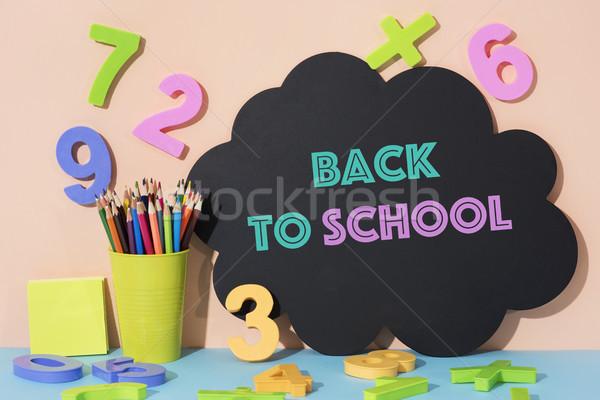 Stockfoto: Nummers · potlood · krijtjes · tekst · terug · naar · school · pot
