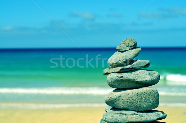 balanced stones in a beach in Fuerteventura, Canary Islands, Spa Stock photo © nito