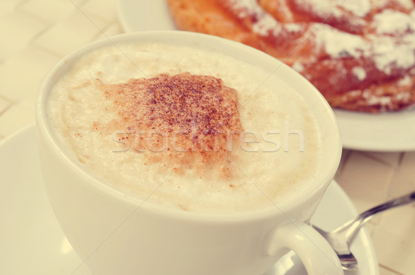cappuccino and spanish ensaimada Stock photo © nito
