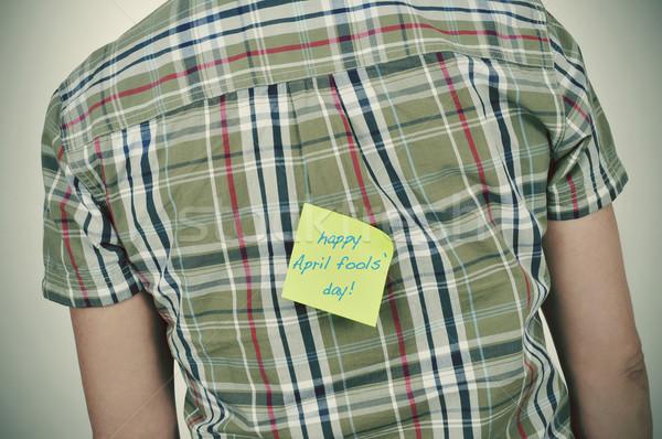 Férfi öntapadó jegyzet szöveg boldog nap fiatal Stock fotó © nito