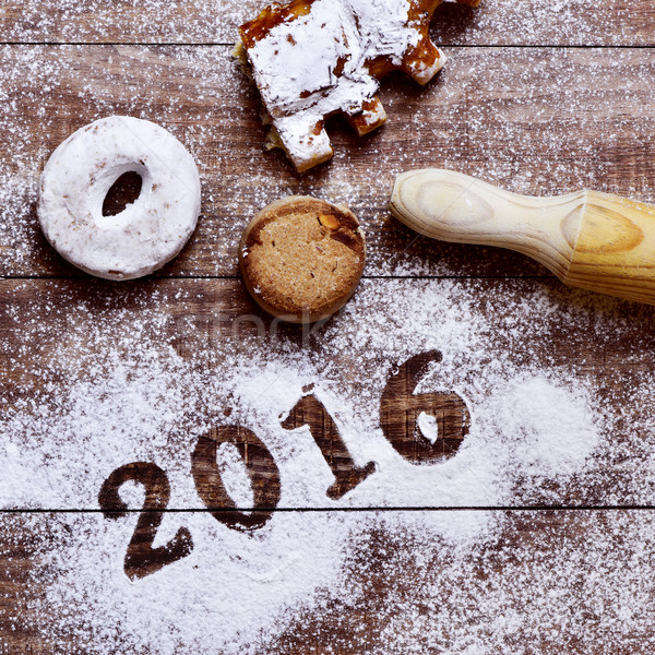 pastries and number 2016, as the new year Stock photo © nito