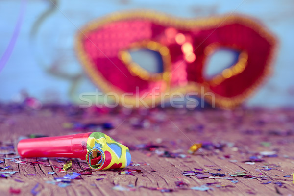 party horn, confetti and carnival mask Stock photo © nito