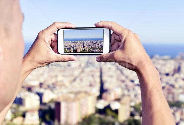 Mann Aufnahme Bild Barcelona Spanien über Stock foto © nito