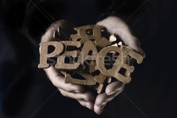 Vieillard mot paix vieux Photo stock © nito