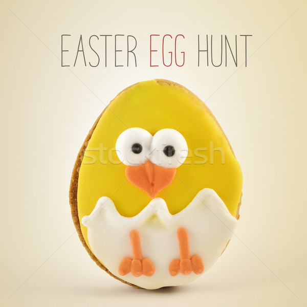 Texte easter egg hunt chiches oeuf cookie Photo stock © nito
