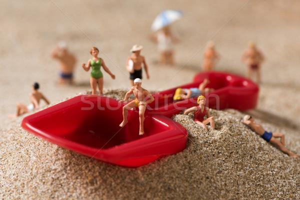 Miniatura personas traje de baño playa diferente Foto stock © nito