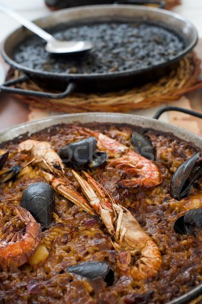 Spagnolo frutti di mare nero primo piano pan tipico Foto d'archivio © nito