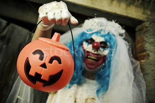 Effrayant mal clown mariée robe halloween Photo stock © nito