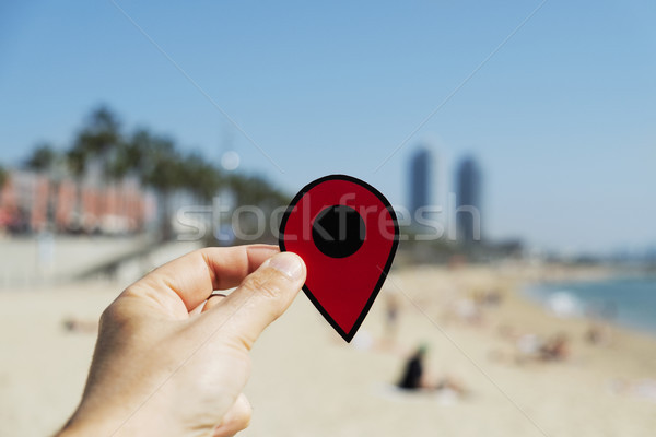 Homme rouge marqueur la plage Photo stock © nito