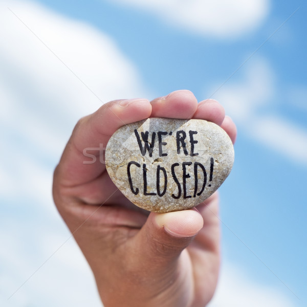 text we are closed written in a stone Stock photo © nito