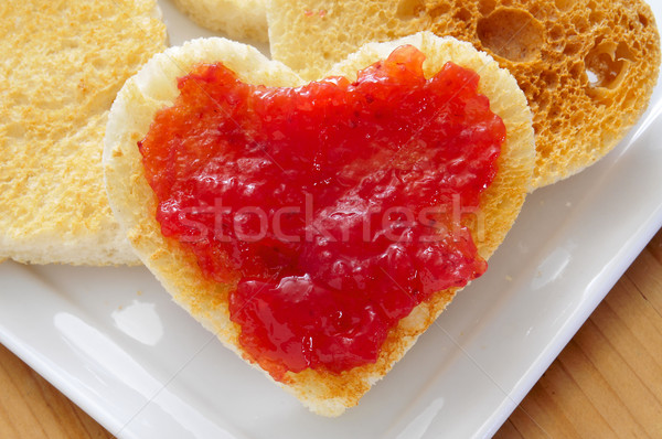 Jam пластина клубника любви хлеб Сток-фото © nito