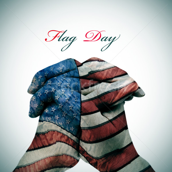 Flag Day and man clasped hands patterned with the american flag Stock photo © nito