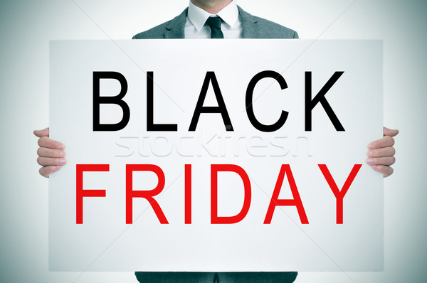 Black friday homem terno palavras Foto stock © nito