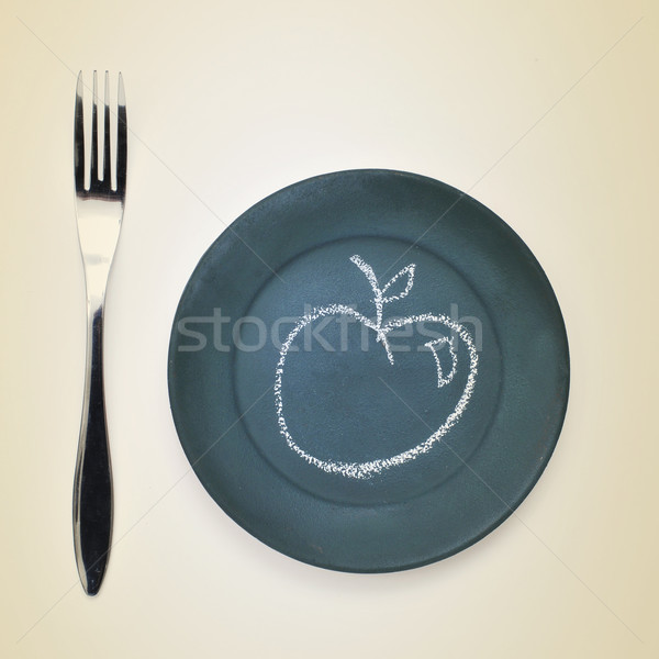 apple drawn with chalk in a plate Stock photo © nito