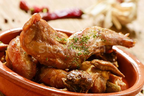 Tipico spagnolo ricetta coniglio primo piano aglio Foto d'archivio © nito