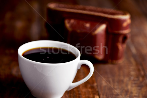 cup of coffee and old camera Stock photo © nito