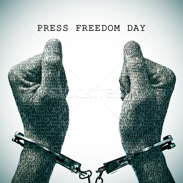handcuffed man and text press freedom day Stock photo © nito