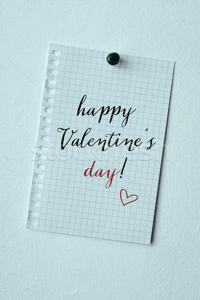 text happy valentines day in a note Stock photo © nito