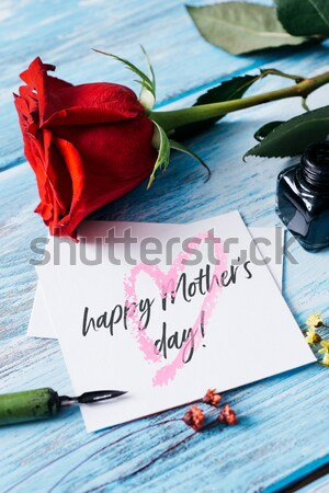 red rose and text happy mothers day in a note Stock photo © nito