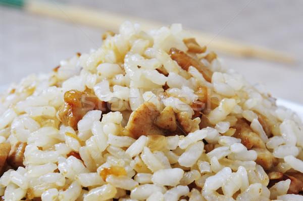 Tyúk sült rizs közelkép tányér étel Stock fotó © nito