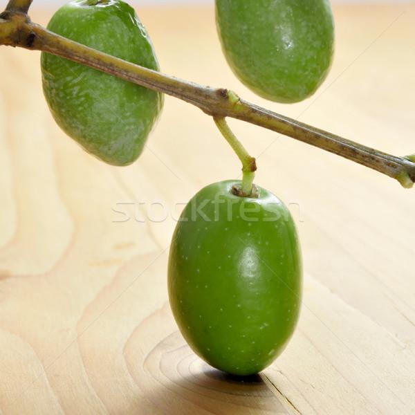 Tak olijfboom groene olijven houten Stockfoto © nito