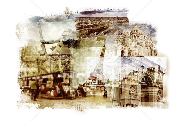 multiple exposures of different landmarks in Paris, France Stock photo © nito