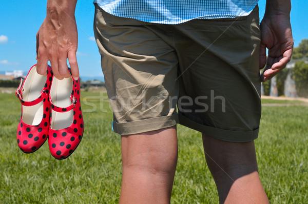 Fiatalember piros flamenco cipők kéz részlet Stock fotó © nito
