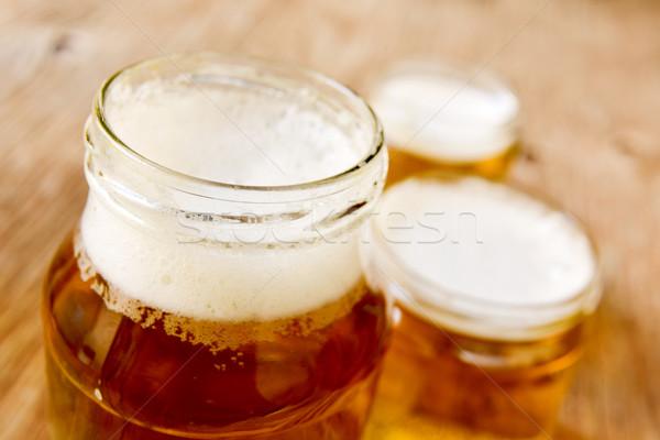 Foto stock: Cerveja · servido · vidro · rústico