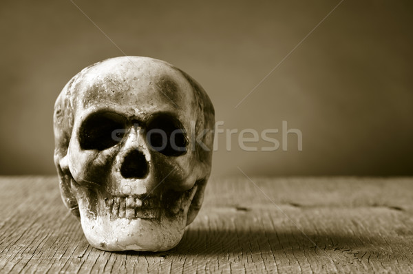 scary skull on a wooden surface, in sepia toning Stock photo © nito