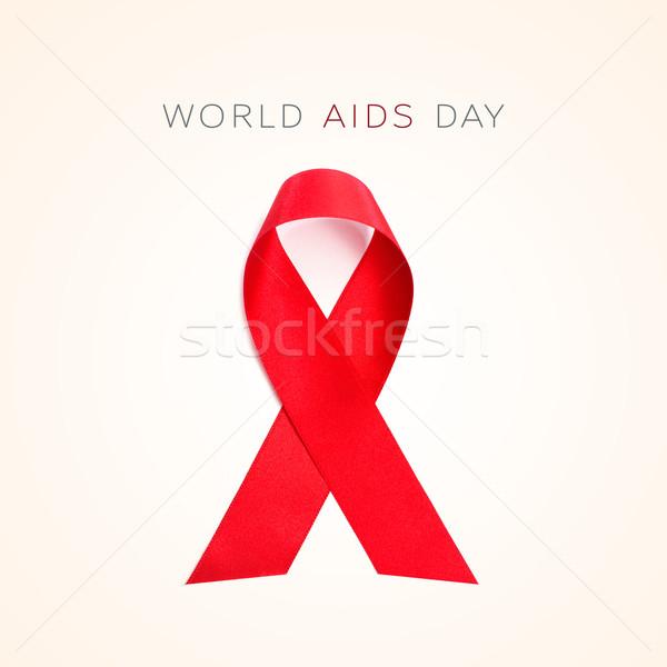 Texto mundo sida dia bege Foto stock © nito