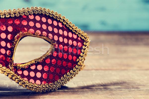 Rood gouden carnaval masker elegante rustiek Stockfoto © nito
