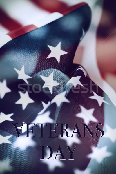 text veterans day and the flag of the US Stock photo © nito