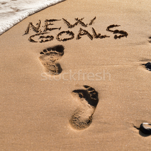 text new goals in the sand of a beach Stock photo © nito