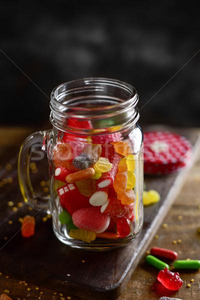 Metselaar jar vol verschillend smaken Stockfoto © nito