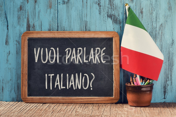 question do you want to speak Italian in Italian Stock photo © nito