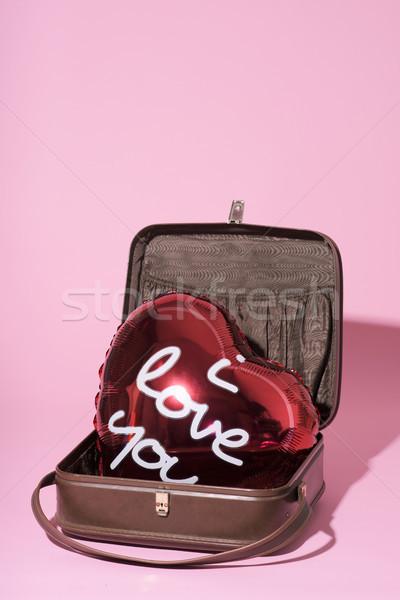 Tekst miłości balon czerwony napisany starych Zdjęcia stock © nito