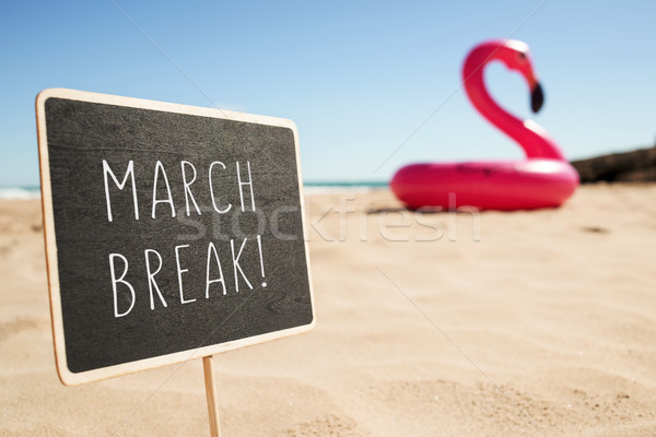 text march break in a signboard on the beach Stock photo © nito
