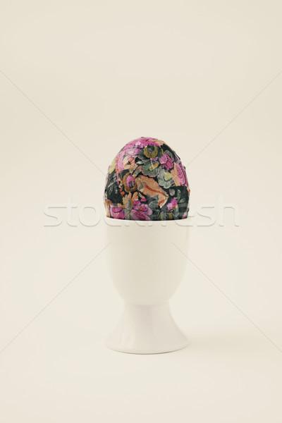 自家製 装飾された イースターエッグ エッグカップ クローズアップ 白 ストックフォト © nito